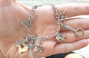 Charms to celebrate moving to central Texas, shooting rattlesnakes, writing my newest story about a Texas Ranger, love of rabbits, joining AMW, and writing Rota Fortunae.
